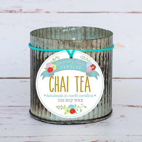 Chai Tea Soy Wax Candle in Zinc Jar