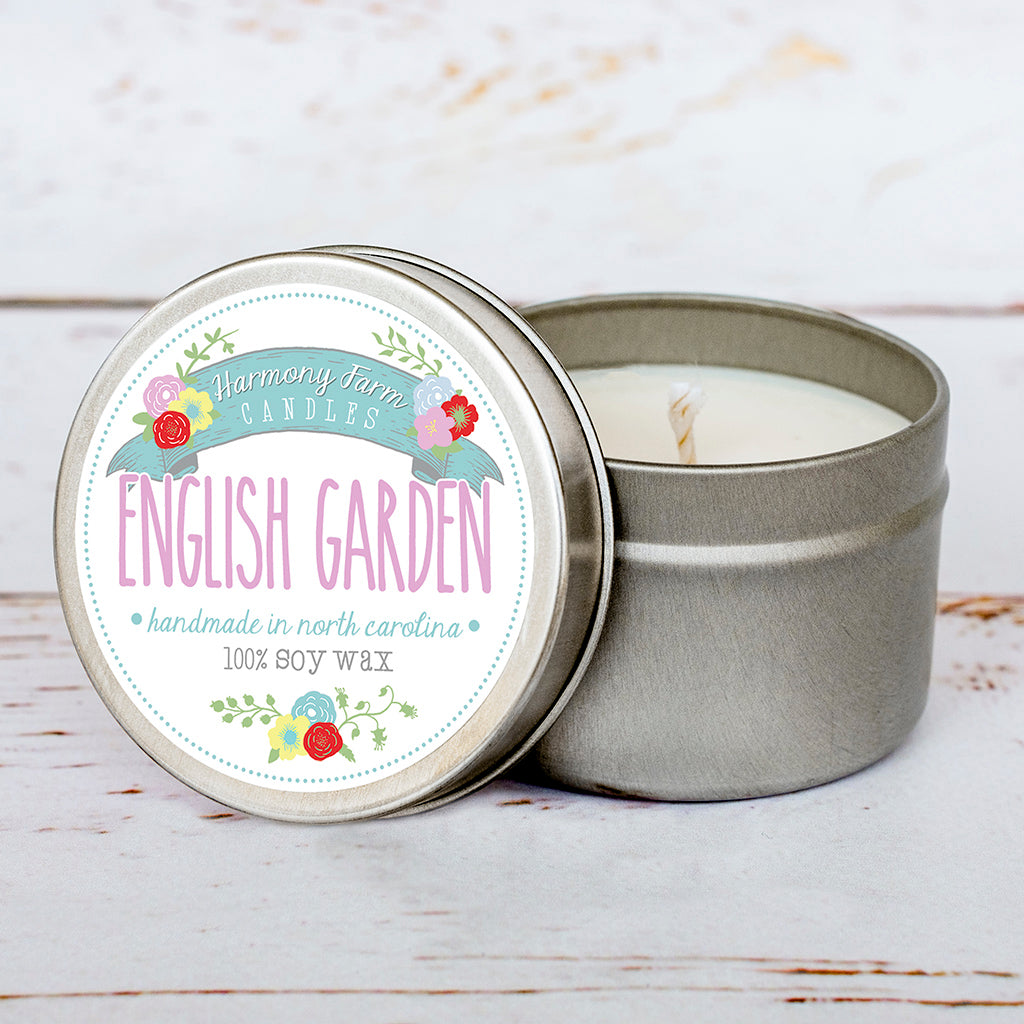 English Garden Soy Wax Candle in Travel Tin