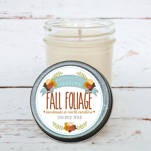 Fall Foliage Soy Wax Candle in Jelly Jar