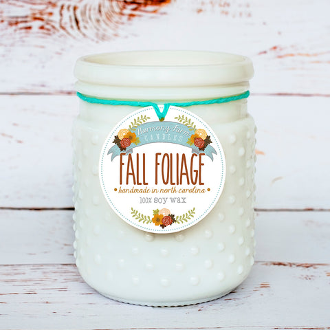 Fall Foliage Soy Wax Candle in Milkglass Jar