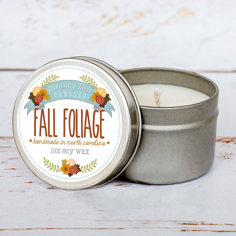 Fall Foliage Soy Wax Candle in Travel Tin
