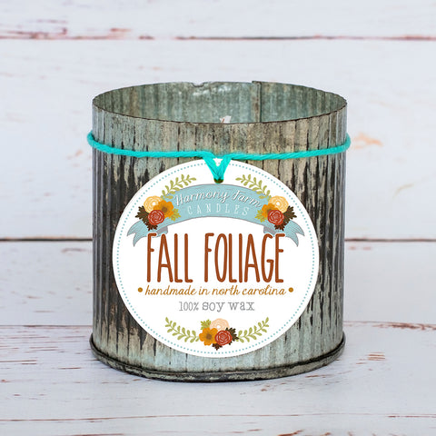 Fall Foliage Soy Wax Candle in Zinc Jar