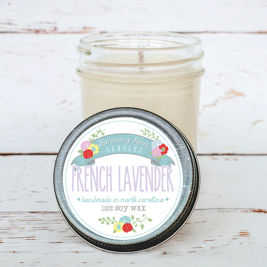 French Lavender Soy Wax Candle in Jelly Jar
