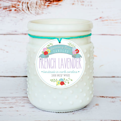 French Lavender Soy Wax Candle in Milkglass Jar