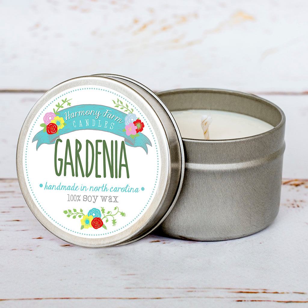 Gardenia Soy Wax Candle in Travel Tin