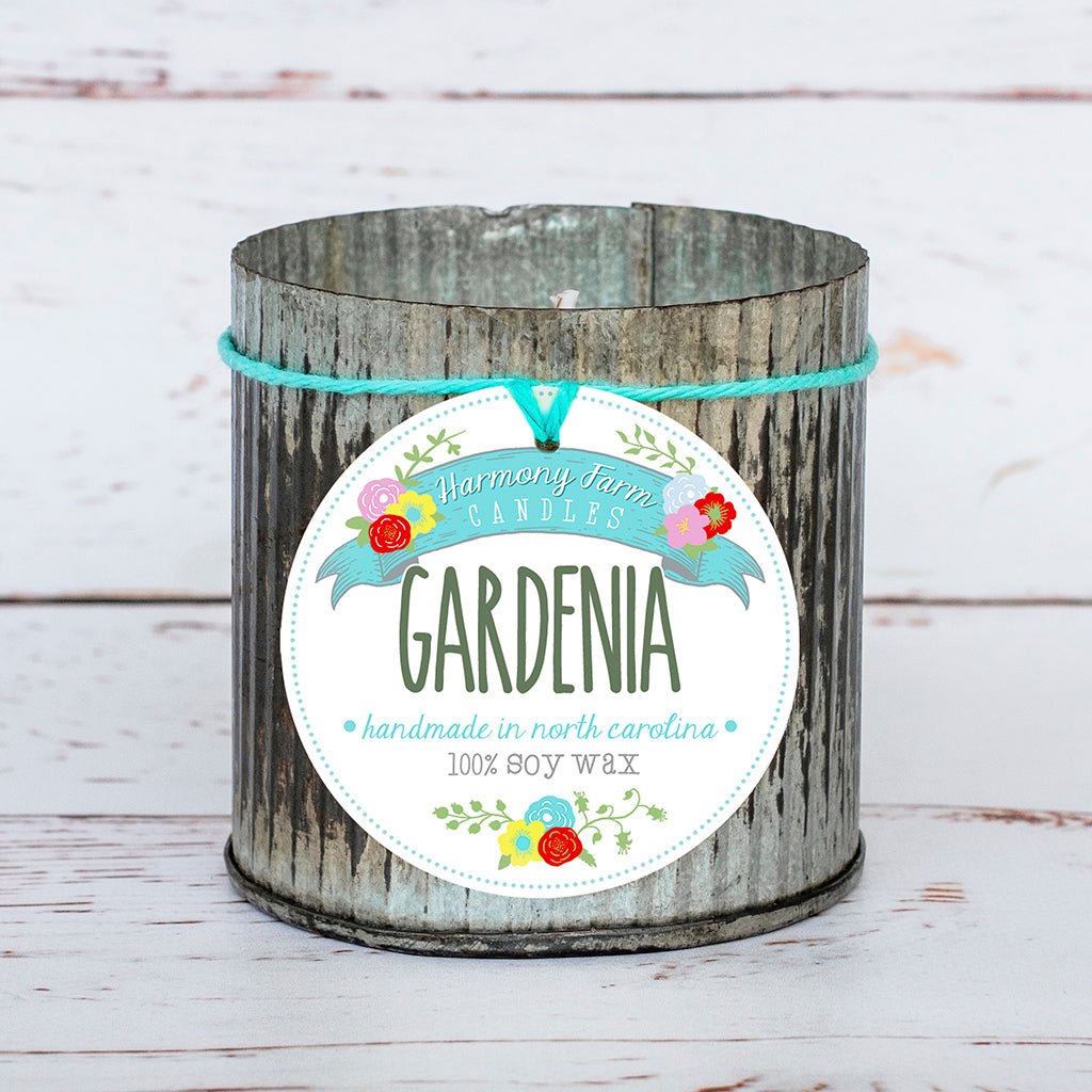 Gardenia Soy Wax Candle in Zinc Jar