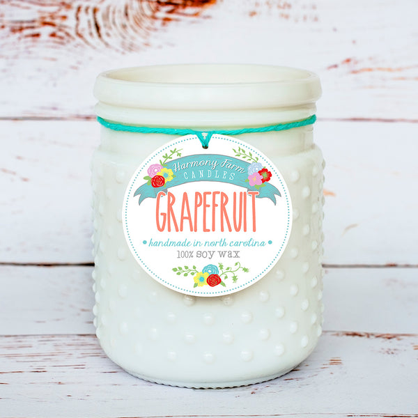Grapefruit Soy Wax Candle in Milkglass Jar