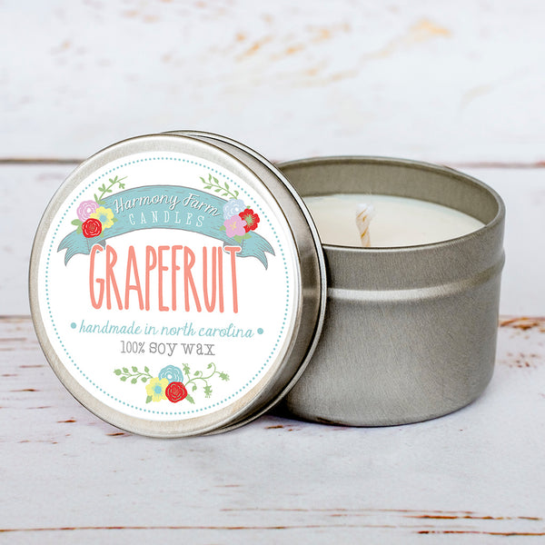 Grapefruit Soy Wax Candle in Travel Tin