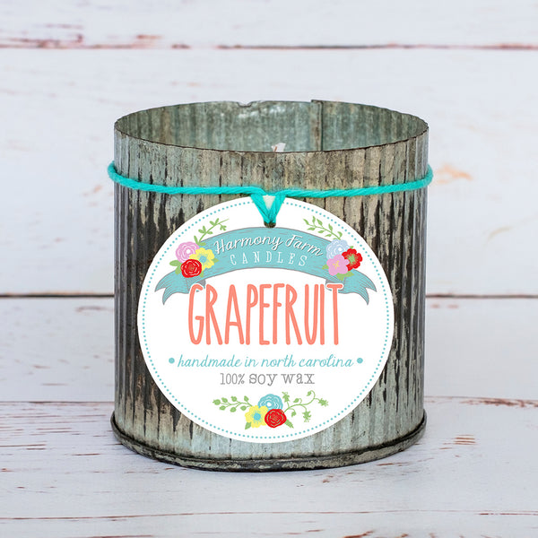 Grapefruit Soy Wax Candle in Zinc Jar