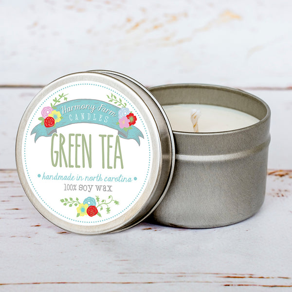 Green Tea Soy Wax Candle in Travel Tin