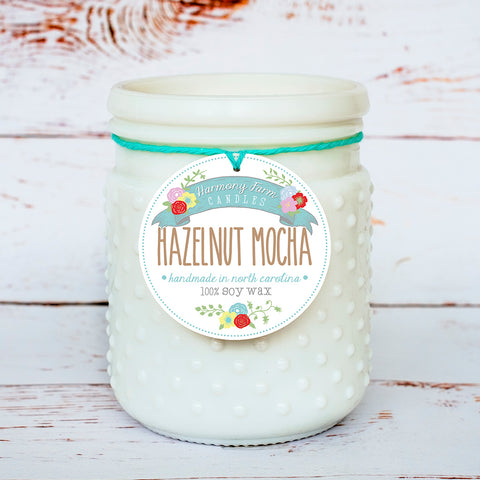 Hazelnut Mocha Soy Wax Candle in Milkglass Jar