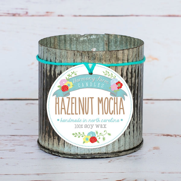 Hazelnut Mocha Soy Wax Candle in Zinc Jar