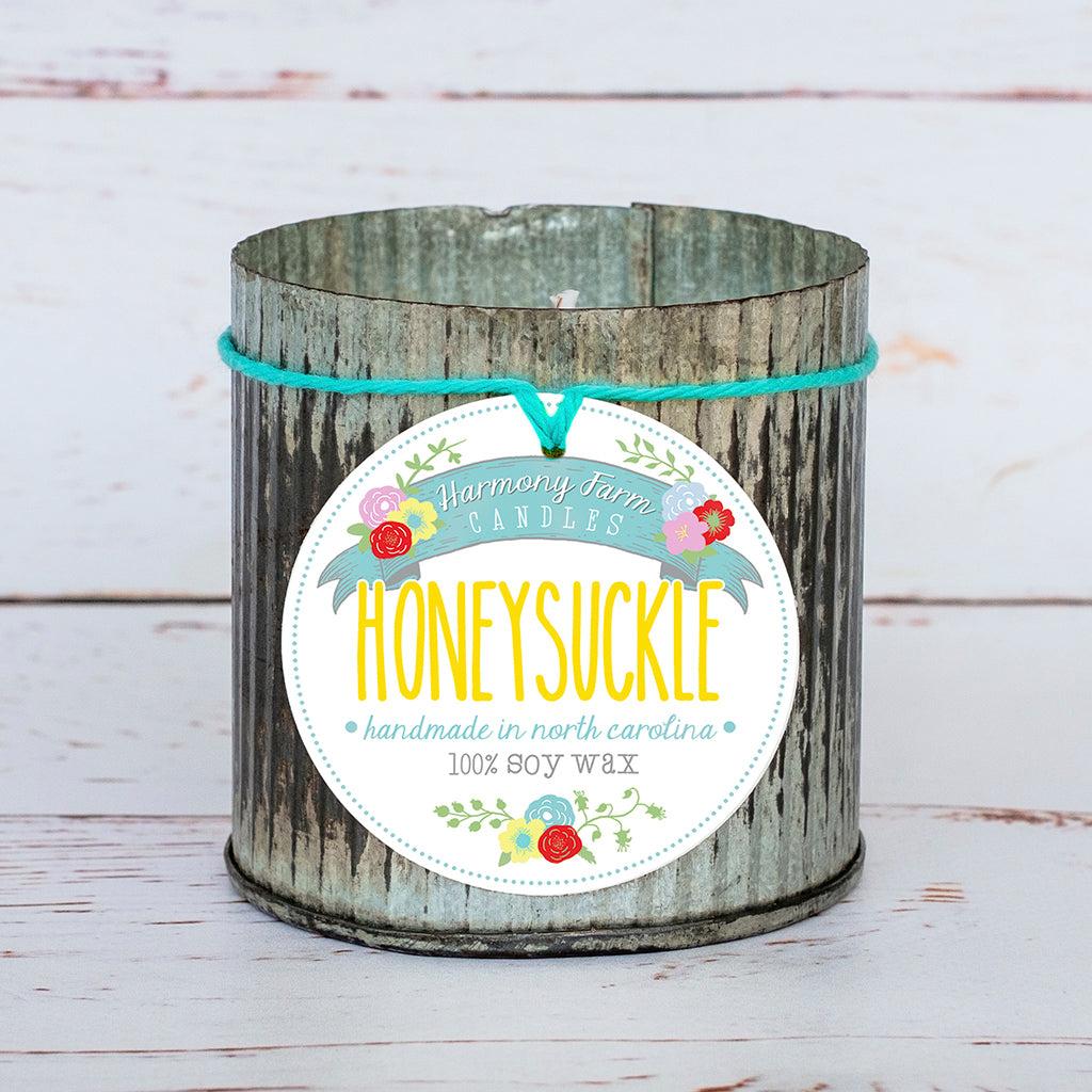 Honeysuckle Soy Wax Candle in Zinc Jar