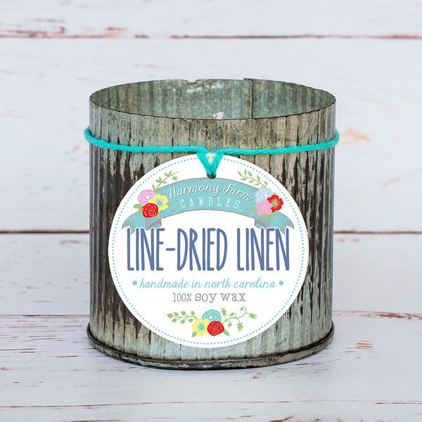 Line-Dried Linen Soy Wax Candle in Zinc Jar