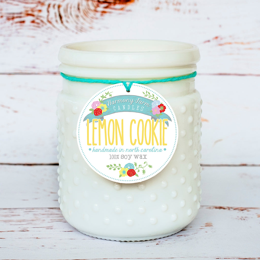 Lemon Cookie Soy Wax Candle in Milkglass Jar