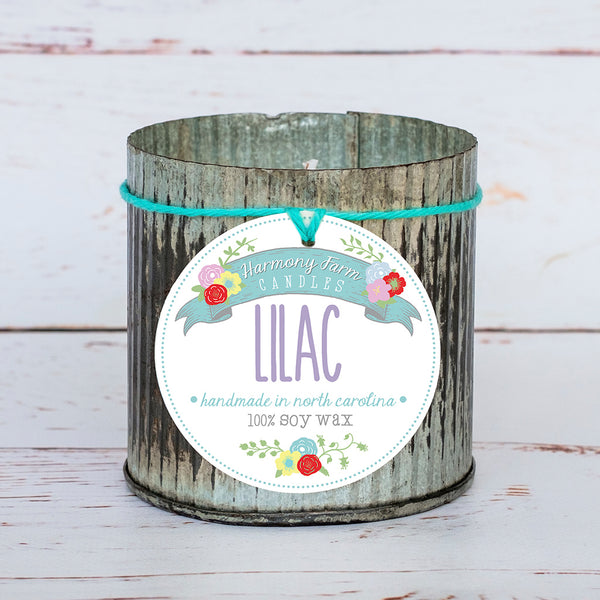 Lilac Soy Wax Candle in Zinc Jar