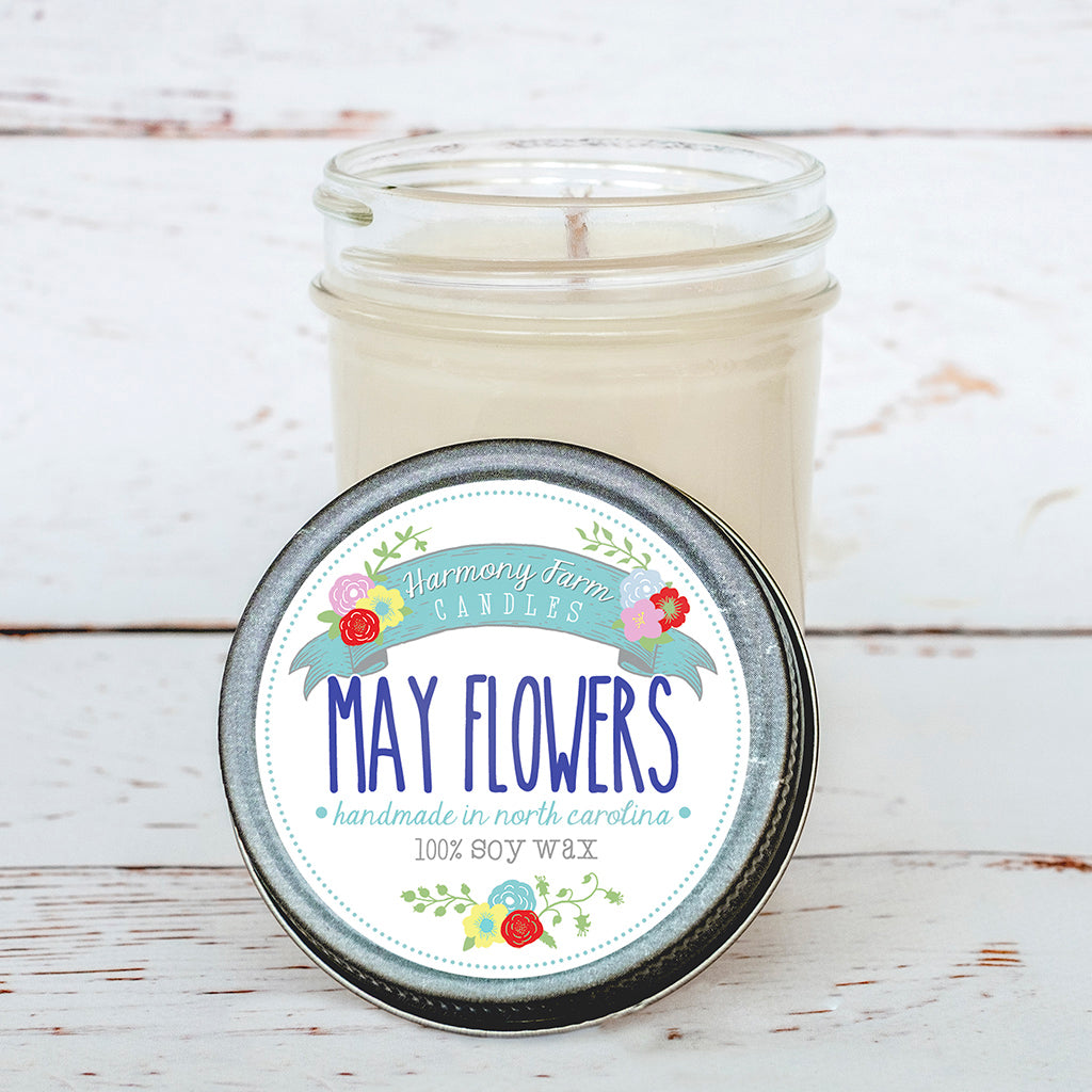 May Flowers Soy Wax Candle in Jelly Jar