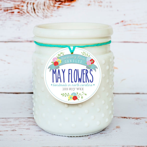 May Flowers Soy Wax Candle in Milkglass Jar
