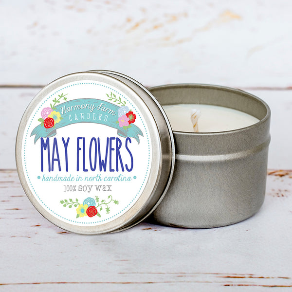 May Flowers Soy Wax Candle in Travel Tin