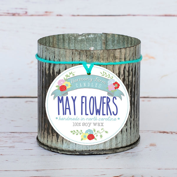 May Flowers Soy Wax Candle in Zinc Jar