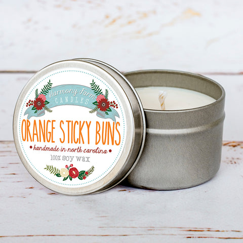 Orange Sticky Buns Soy Wax Candle in Travel Tin