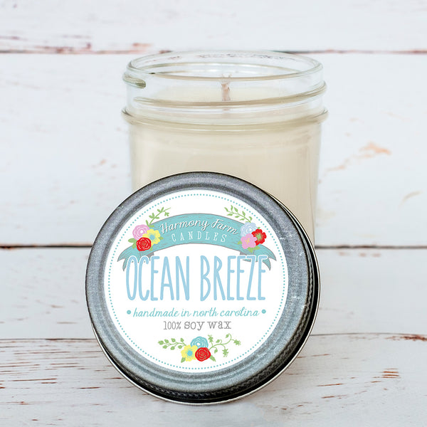 Ocean Breeze Soy Wax Candle in Jelly Jar