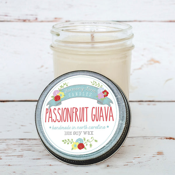 Passionfruit Guava Soy Wax Candle in Jelly Jar