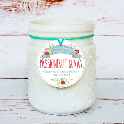 Passionfruit Guava Soy Wax Candle in Milkglass Jar