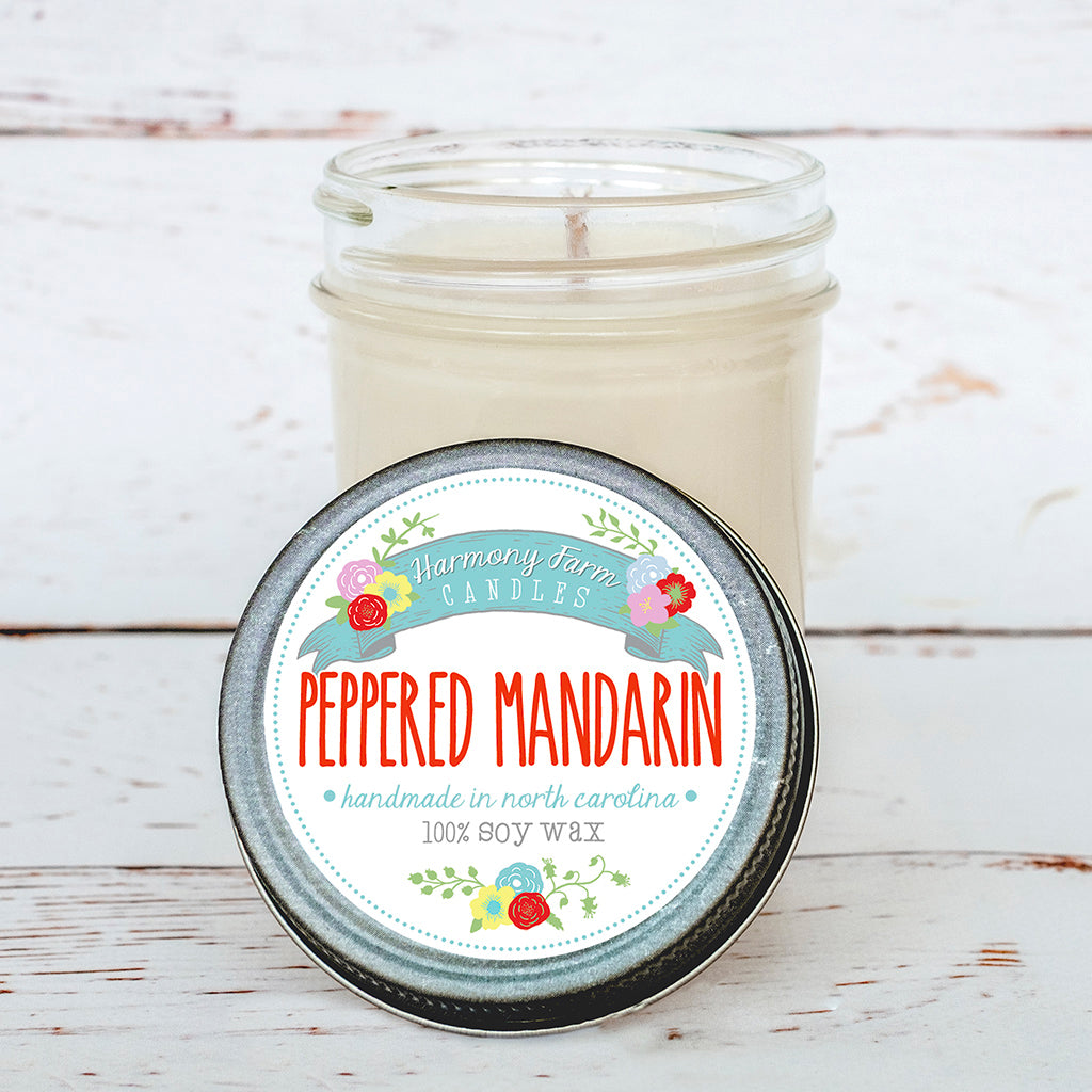 Peppered Mandarin Soy Wax Candle in Jelly Jar