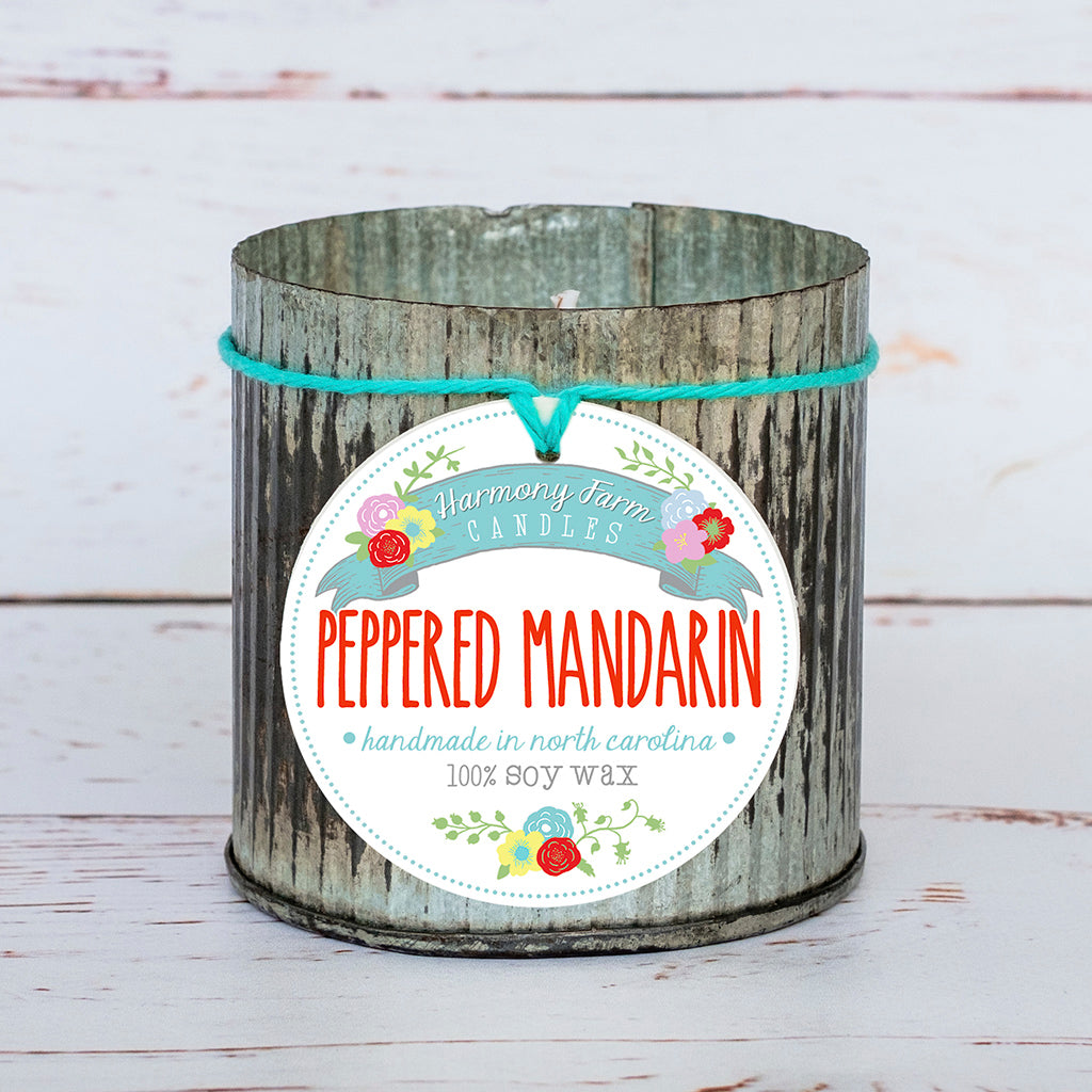 Peppered Mandarin Soy Wax Candle in Zinc Jar