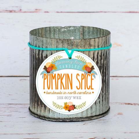 Pumpkin Spice Soy Wax Candle in Zinc Jar