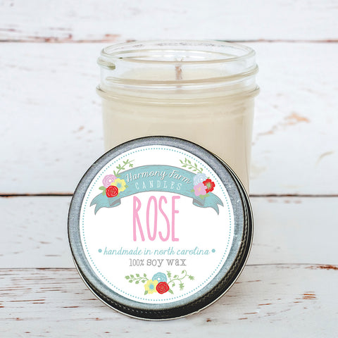 Rose Soy Wax Candle in Jelly Jar