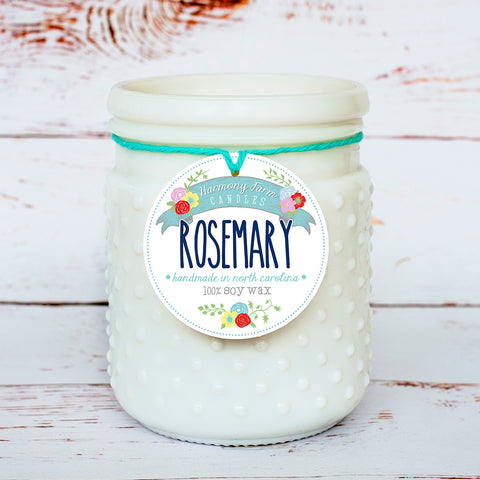 Rosemary Soy Wax Candle in Milkglass Jar