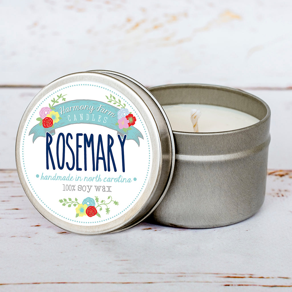 Rosemary Soy Wax Candle in Travel Tin