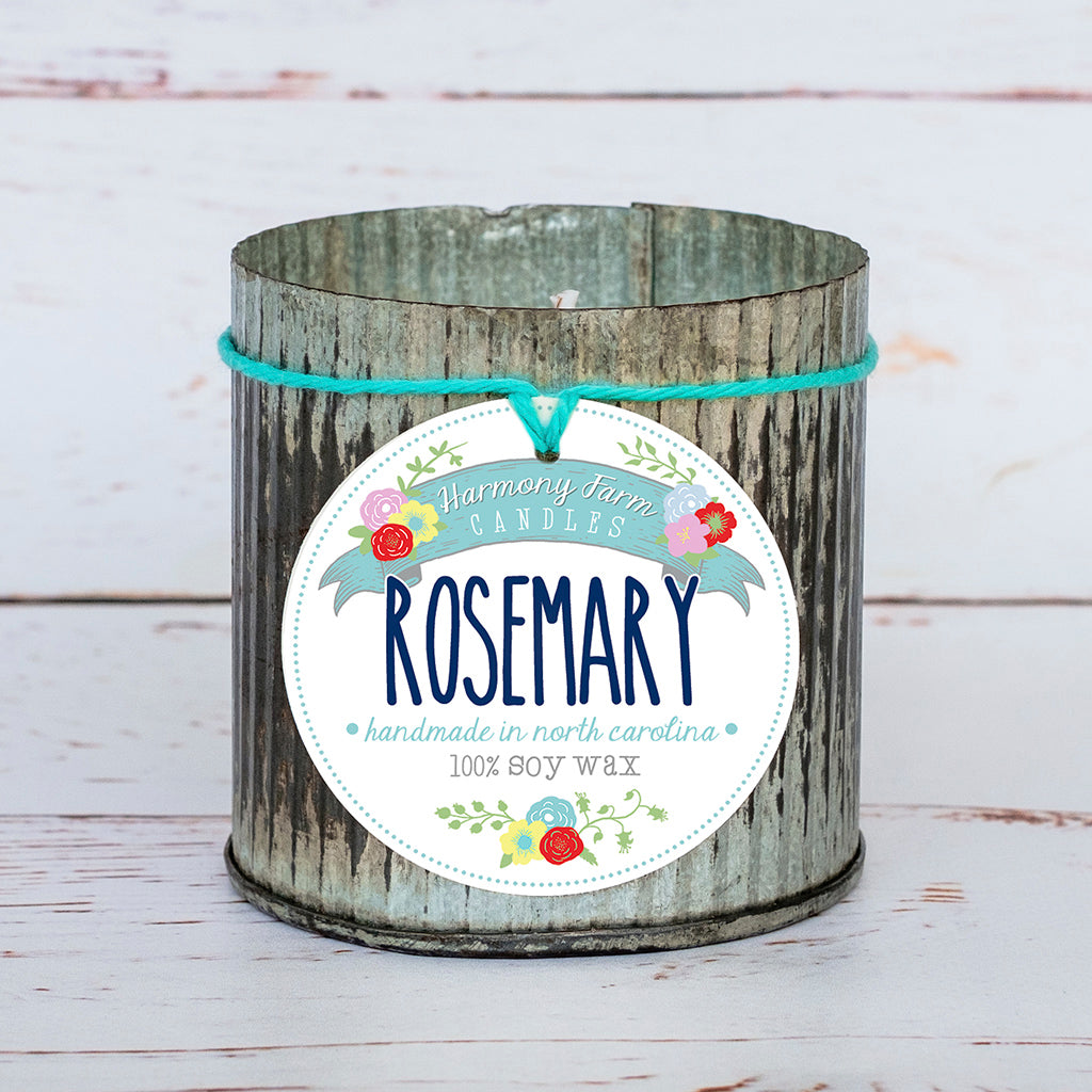 Rosemary Soy Wax Candle in Zinc Jar