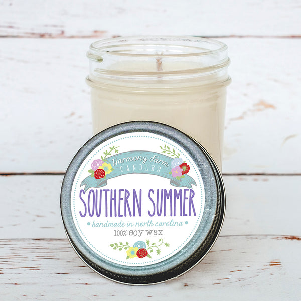 Southern Summer Soy Wax Candle in Jelly Jar