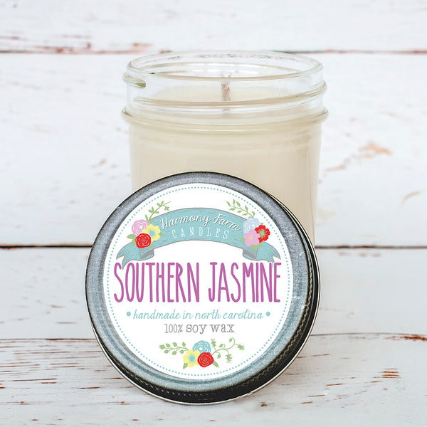 Southern Jasmine Soy Wax Candle in Jelly Jar