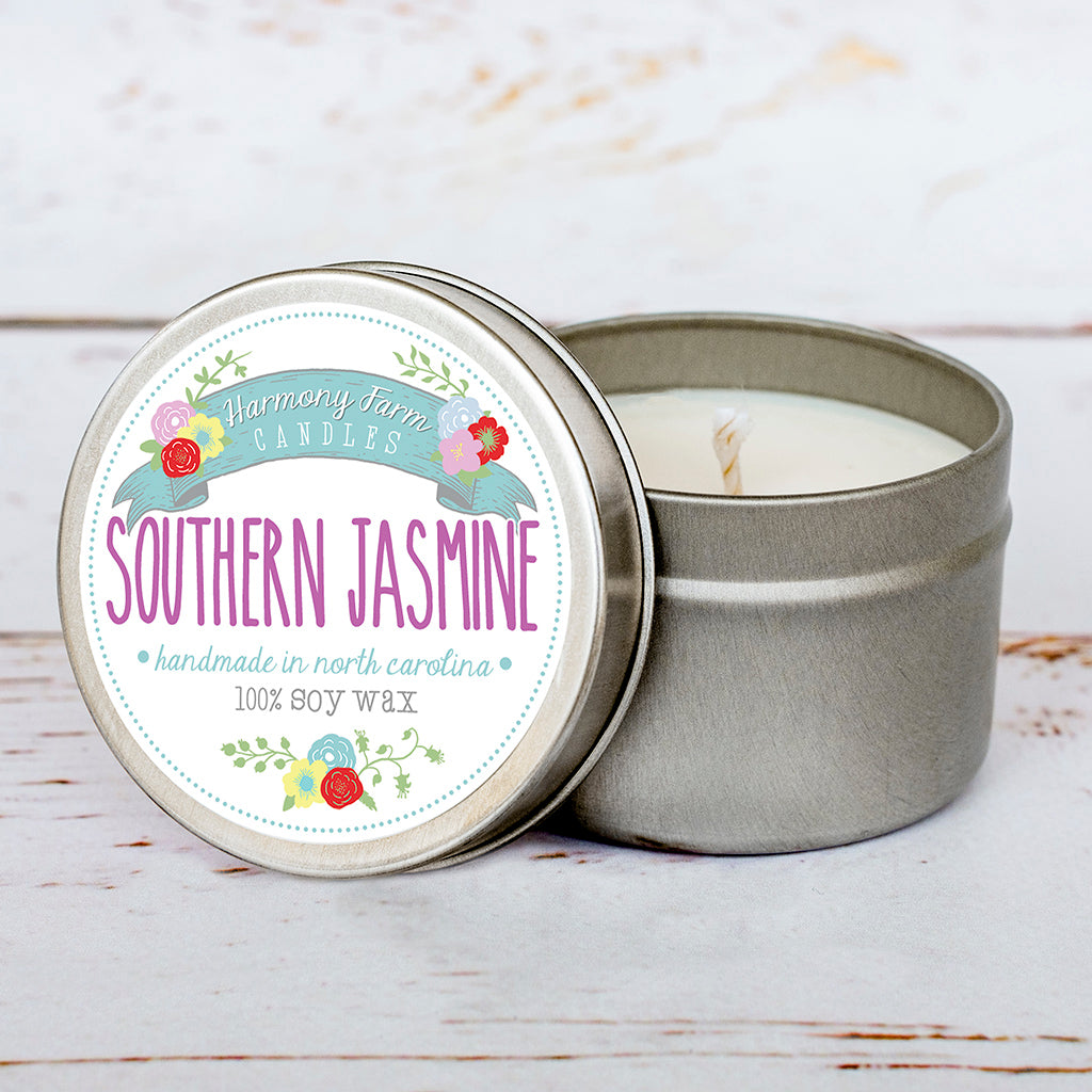 Southern Jasmine Soy Wax Candle in Travel Tin