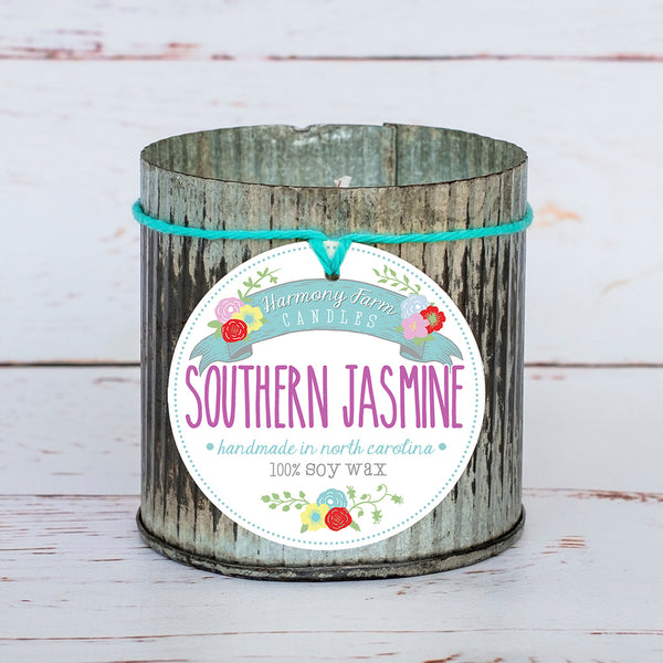 Southern Jasmine Soy Wax Candle in Zinc Jar
