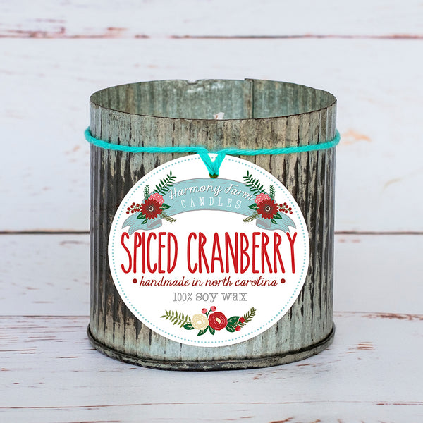Spiced Cranberry Soy Wax Candle in Zinc Jar