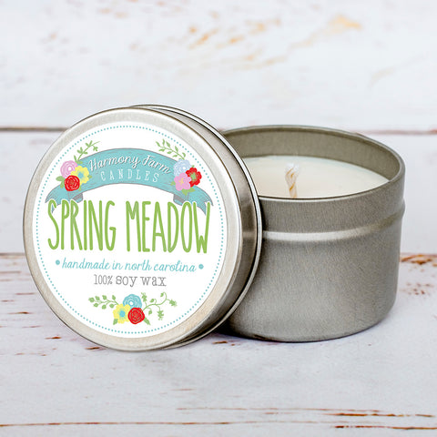 Spring Meadow Soy Wax Candle in Travel Tin