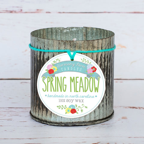 Spring Meadow Soy Wax Candle in Zinc Jar