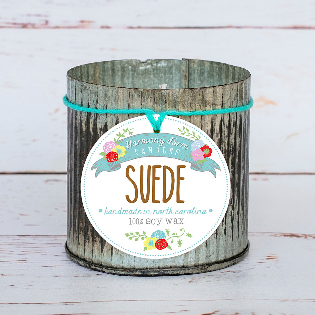 Suede Soy Wax Candle in Zinc Jar