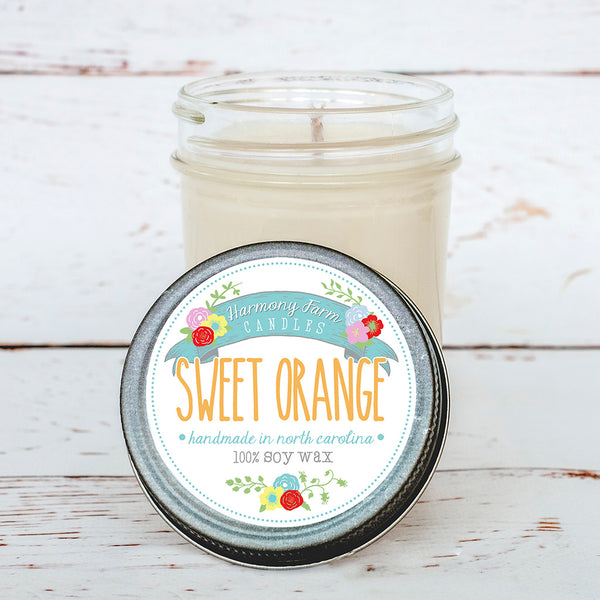Sweet Orange Soy Wax Candle in Jelly Jar