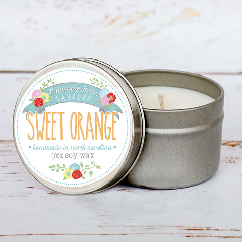 Sweet Orange Soy Wax Candle in Travel Tin