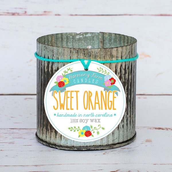 Sweet Orange Soy Wax Candle in Zinc Jar