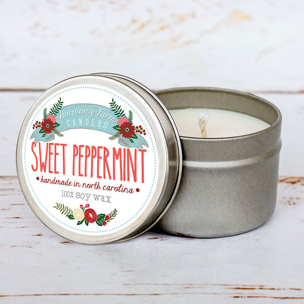 (Imperfect/Second Quality) Sweet Peppermint Soy Wax Candle in Travel Tin