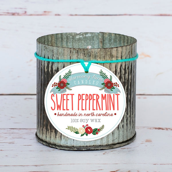 Sweet Peppermint Soy Wax Candle in Zinc Jar
