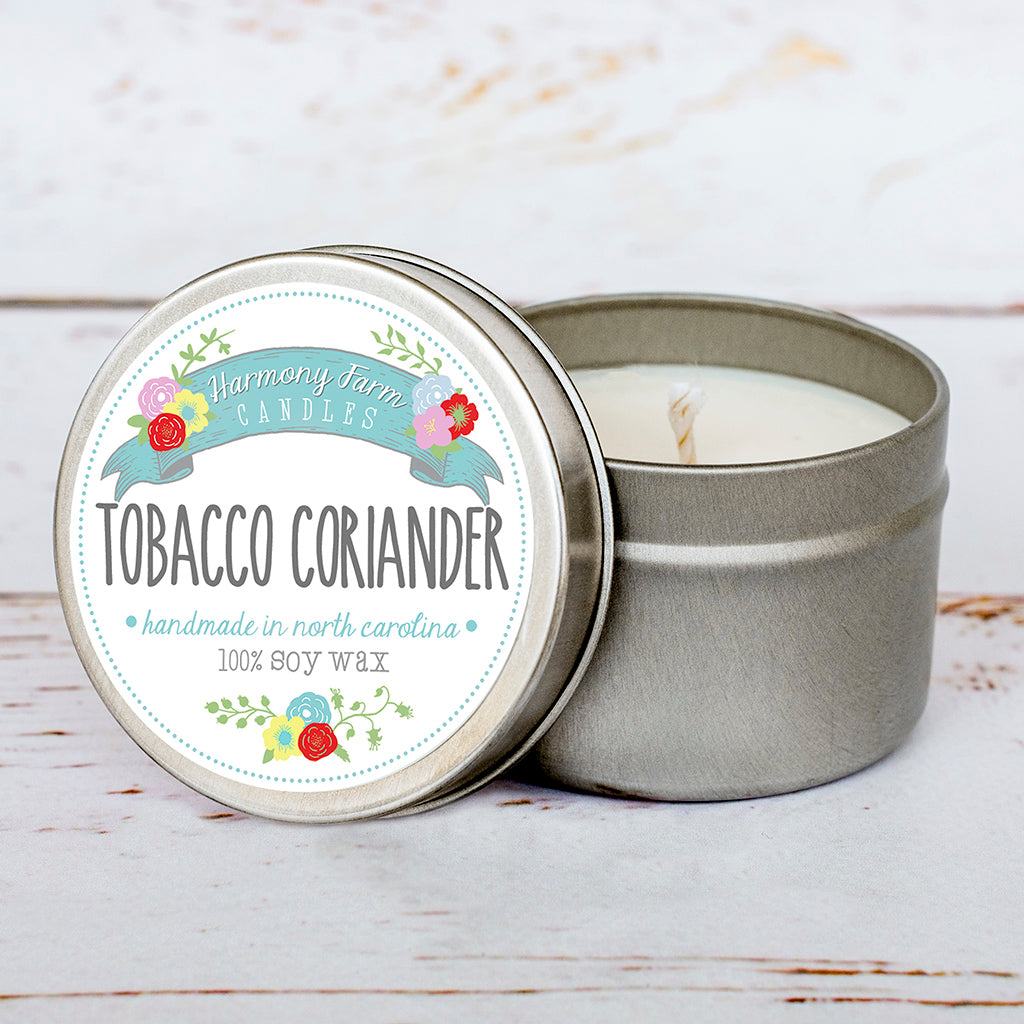 Tobacco Coriander Soy Wax Candle in Travel Tin