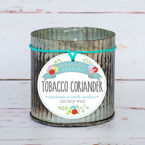 Tobacco Coriander Soy Wax Candle in Zinc Jar